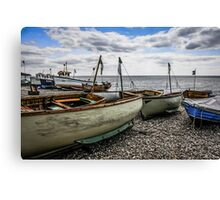 Beached Boats at Beer Canvas Print