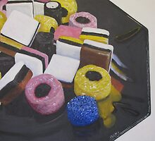 Liquorice Allsorts On Black Dish by nikkirosetti