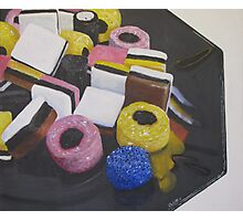 Liquorice Allsorts On Black Dish Photographic Print