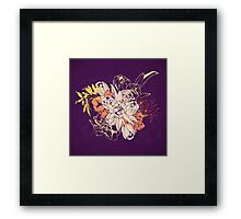 Graphic composition composed of tulips and narcissus Framed Print