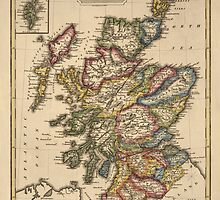Antique Map of Scotland from c1817 by bluemonocle