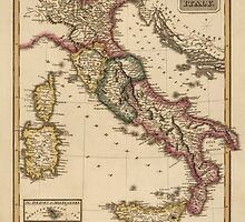 Antique Map of Italy from c1817 by bluemonocle