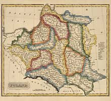 Antique Map of Poland from c1817 by bluemonocle