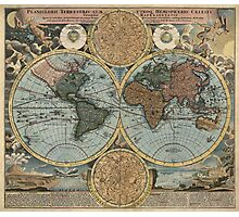 Antique Map of the World from c1716 Photographic Print