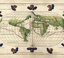 Antique Map of the World from c1544 by bluemonocle