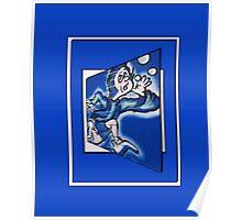 blue boy runnin' vertical (frame) Poster