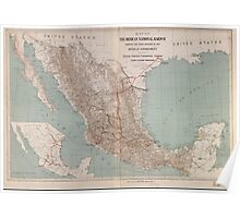 Civil War Maps 0921 Map of the Mexican National Railway showing the lines granted by the Mexican government to the Mexican National Construction Company Palmer-Sullivan concession Poster