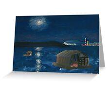 Belgrade Moon Over Danube at Night Greeting Card
