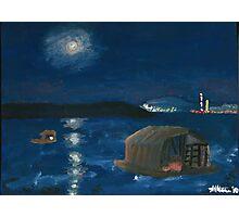 Belgrade Moon Over Danube at Night Photographic Print