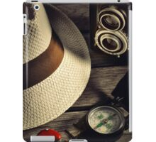 retro camera and Panama hat iPad Case/Skin
