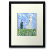 Nikola Tesla and Lady Angel Framed Print