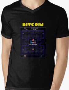 Pac-Man Bitcoin Mens V-Neck T-Shirt