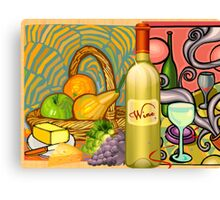 Basket and Wine Still Life - Clip Art Canvas Print