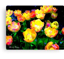 Yellow Tulips - Linen Canvas Print