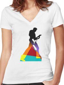 Pop Art Guitar Rocker Women's Fitted V-Neck T-Shirt