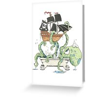 Kraken in the Tub Greeting Card