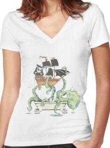 Kraken in the Tub Women's Fitted V-Neck T-Shirt