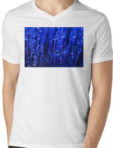 Blue Macro Moss Mens V-Neck T-Shirt