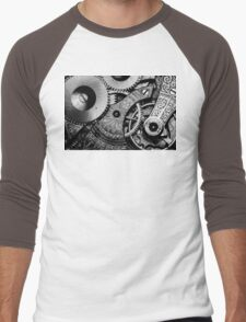Gears and Age (black and white version) Men's Baseball ¾ T-Shirt