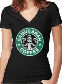 Samus Aran Coffee Women's Fitted V-Neck T-Shirt