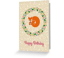 Birthday Spring Fox Greeting Card
