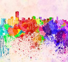 Miami skyline in watercolor background by paulrommer