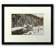 Bridge In Snow Framed Print