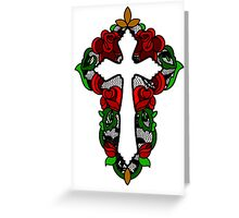 Rose and Lace Cross Greeting Card