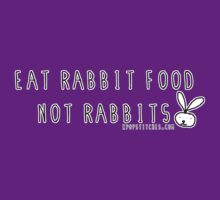 Eat rabbit FOOD not rabbits! Vegetarian vegan shirt by dubukat
