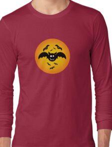 Cute Illustrated Tee Shirt with Bats Long Sleeve T-Shirt
