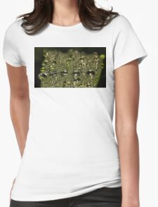 Leaf Water Droplets Womens Fitted T-Shirt