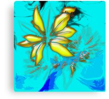 flowers on Blue Background Canvas Print