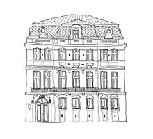 house illustration in black and white Photographic Print