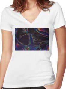 Broken LCD Screen Women's Fitted V-Neck T-Shirt