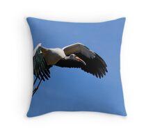 Wood Stork in Flight Throw Pillow