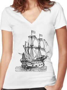 Classic Sailing Ship 02 Women's Fitted V-Neck T-Shirt