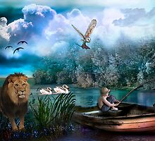 Lion with Boy Fishing by fairytaleart