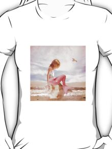 Child Mermaid on Seashell at Beach T-Shirt