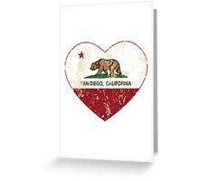 San Diego California  Love Heart Distressed Greeting Card