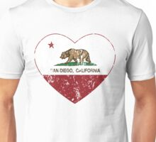 San Diego California  Love Heart Distressed Unisex T-Shirt