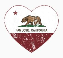 San Jose California Love Heart Distressed Baby Tee