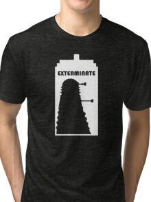 Dalek within Tardis (white) Tri-blend T-Shirt