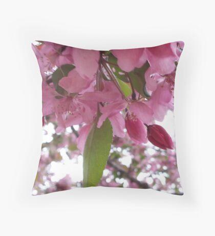 Pink buds Throw Pillow