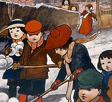 Preparing for the snow-ball fight by Bridgeman Art Library