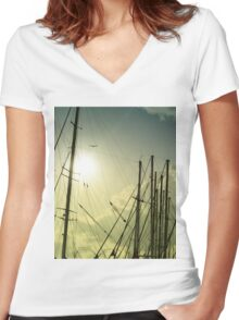 boat masts Women's Fitted V-Neck T-Shirt