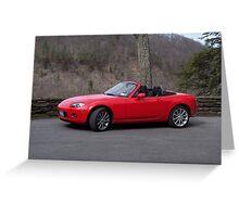 Red Mazda Miata in New York State Park Greeting Card