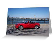 Red Mazda Miata in Niagara Falls Greeting Card
