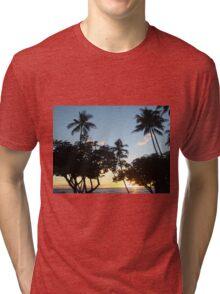 Aloha, Hawaiian Sunset Tri-blend T-Shirt