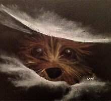 Cute Funny Yorkie Between Pillow Original Art by Welte Arts & Trumpery