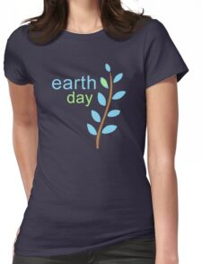 Earth Day With Leaves Womens Fitted T-Shirt